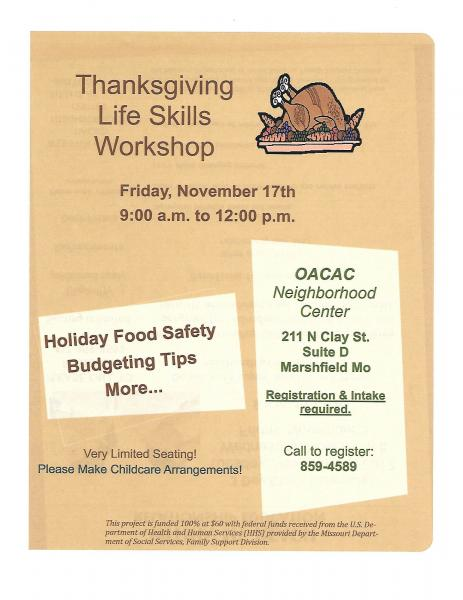 OACAC Thanksgiving Life Skills Workshop