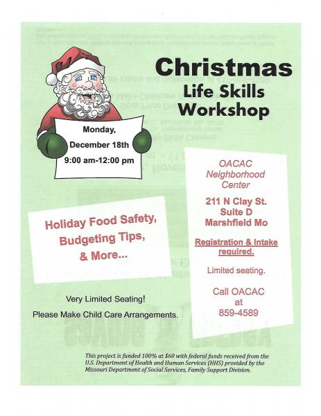OACAC Christmas Life Skills Workshop