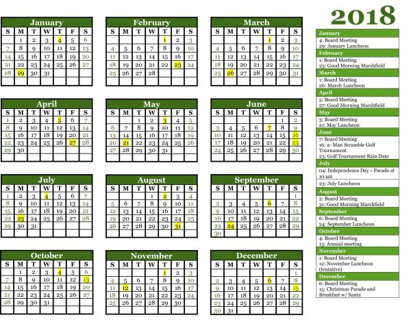 2018 Marshfield Area Chamber of Commerce Event Calendar