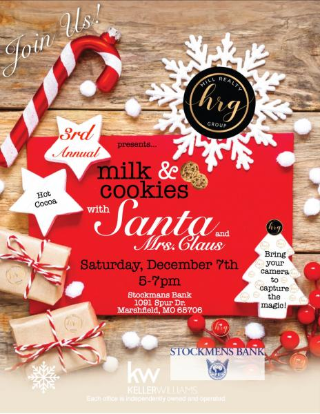 3rd Annual Milk & Cookies with Santa and Mrs. Claus!