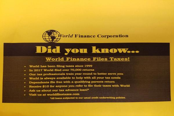 World Finance Files Taxes!